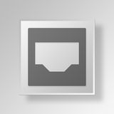 3D Inbox icon Business Concept. 3D Symbol Gray Square Inbox icon Business Concept Stock Image