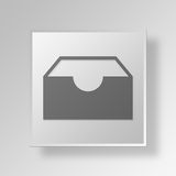 3D Inbox icon Business Concept. 3D Symbol Gray Square Inbox icon Business Concept Stock Photo
