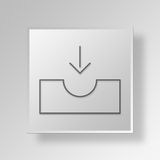 3D Inbox icon Business Concept. 3D Symbol Gray Square Inbox icon Business Concept Stock Photography