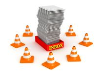 3D Inbox Surrounded by Orange Cones Stock Images