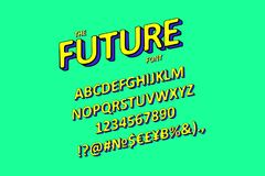 3D inclinado sin Serif Font Stock de ilustración