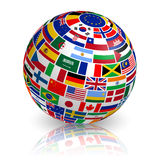 3D inclined Flag Globe vector illustration
