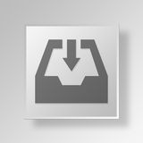 3D Incoming Mail Button Icon Concept. 3D Symbol Gray Square Incoming Mail Button Icon Concept Stock Photos