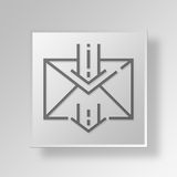 3D Incoming Mail Button Icon Concept. 3D Symbol Gray Square Incoming Mail Button Icon Concept Stock Photo