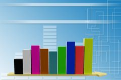 3d increasing Single Bar  graph illustration Royalty Free Stock Image