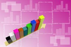 3d increasing Single Bar  graph illustration Stock Photo