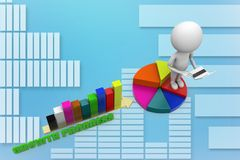 3d increasing Single Bar  graph with pie chart illustration Stock Photos