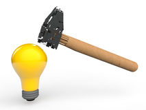 3d indestructible idea bulb and broken hammer Stock Photography