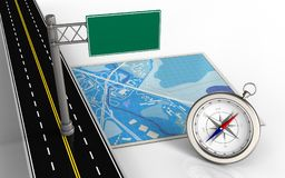 3d index sign. 3d illustration of blue map with index sign and compass Royalty Free Stock Image