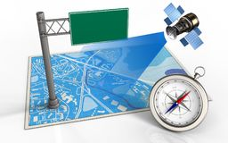 3d index sign. 3d illustration of blue map with index sign and satellite Royalty Free Stock Photo