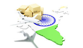 3d India map with cardboard boxes and airplane Royalty Free Stock Photography