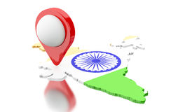 3d India map with pointer. 3d renderer image. India map with pointer. Travel concept. Isolated white background Stock Photos