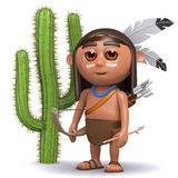 3d Indian boy by a cactus Royalty Free Stock Photo