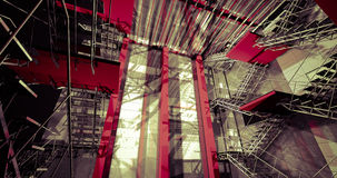 3d indoors. Modern industrial interior, stairs, clean space in i Royalty Free Stock Photos