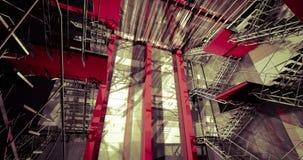 3d indoors. Nowożytny przemysłowy wnętrze, schodki, czyści przestrzeń wewnątrz ja Zdjęcia Royalty Free