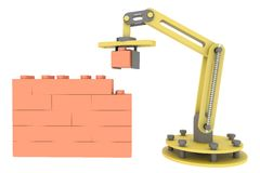 3d industrial robotic mechanical arm building brick wall illustration background Stock Photography