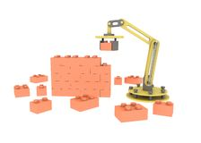 3d industrial robotic mechanical arm building brick wall illustration  white background. 3d industrial robotic mechanical arm building brick wall. illustration Royalty Free Stock Images