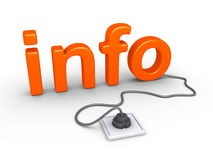 Info word plugged in. 3d info word is plugged in Royalty Free Stock Images