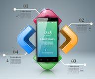 3D Infographic Икона Smartphone Стоковые Фотографии RF