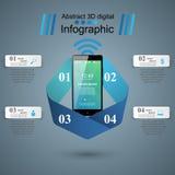 3D Infographic Икона Smartphone Стоковые Изображения