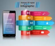 3D Infographic Икона Smartphone Стоковые Фото