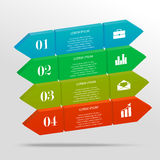 3D infographic banner. 3D infographic geometric banner with text and icons. Minimalistic style. Can be used for workflow layout, business concept with 4 options Royalty Free Stock Photo