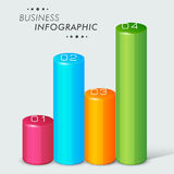 3D Infographic bars for business. Colorful 3D Infographic bars with numbers on grey background for business and corporate sector Royalty Free Stock Image