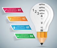 3D Infographic. Bulb and Pencil icon. Business Infographics origami style Vector illustration.  Bulb icon. Light icon. Pencil icon Stock Photography