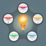3D Infographic. Bulb and Pencil icon. Stock Image