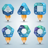 3D Infographic. Bulb and Pencil icon. Royalty Free Stock Photos