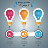 3D Infographic. Bulb and Pencil icon. Stock Images