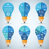 3D Infographic. Bulb and Pencil icon. Royalty Free Stock Photo