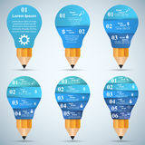 3D Infographic. Bulb and Pencil icon. Business Infographics origami style Vector illustration.  Light icon. Pencil icon Stock Image