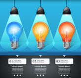 3D Infographic. Bulb and Pencil icon. Business Infographics origami style Vector illustration.  Bulb icon. Light icon. Pencil icon Stock Photo