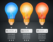 3D Infographic. Bulb and Pencil icon. Stock Photography