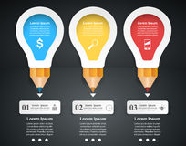3D Infographic. Bulb and Pencil icon. Business Infographics origami style Vector illustration.  Light icon. Pencil icon Royalty Free Stock Photo