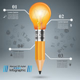 3D Infographic. Bulb and Pencil icon. Business Infographics origami style Vector illustration.  Bulb icon. Light icon. Pencil icon Royalty Free Stock Photography