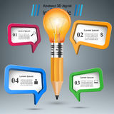 3D Infographic. Bulb and Pencil icon. Business Infographics origami style Vector illustration.  Bulb icon. Light icon. Pencil icon Royalty Free Stock Photos