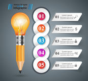 3D Infographic. Bulb and Pencil icon. Business Infographics origami style Vector illustration.  Bulb icon. Light icon. Pencil icon Stock Images