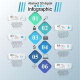 3D infographic design template and marketing icons. Business Infographics origami style Vector illustration. sign, concept, business, abstract, information Royalty Free Stock Photos