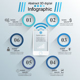 3D infographic design template and marketing icons. Smartphone  Stock Photo
