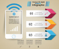 3D infographic design template and marketing icons. Smartphone i Royalty Free Stock Image