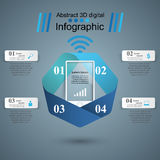 3D infographic design template and marketing icons. Smartphone i Royalty Free Stock Photography