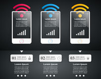 3D infographic design template and marketing icons. Smartphone i Stock Image