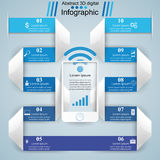 3D infographic design template and marketing icons. Smartphone i Stock Images