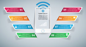 3D infographic design template and marketing icons. Smartphone i Royalty Free Stock Images