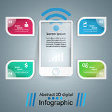 3D infographic design template and marketing icons. Smartphone i Stock Photos