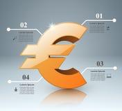 3D Infographic Euro, ícone do dinheiro Imagem de Stock