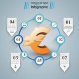 3D Infographic Euro, ícone do dinheiro Imagens de Stock