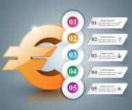 3D Infographic Euro, ícone do dinheiro Imagens de Stock Royalty Free